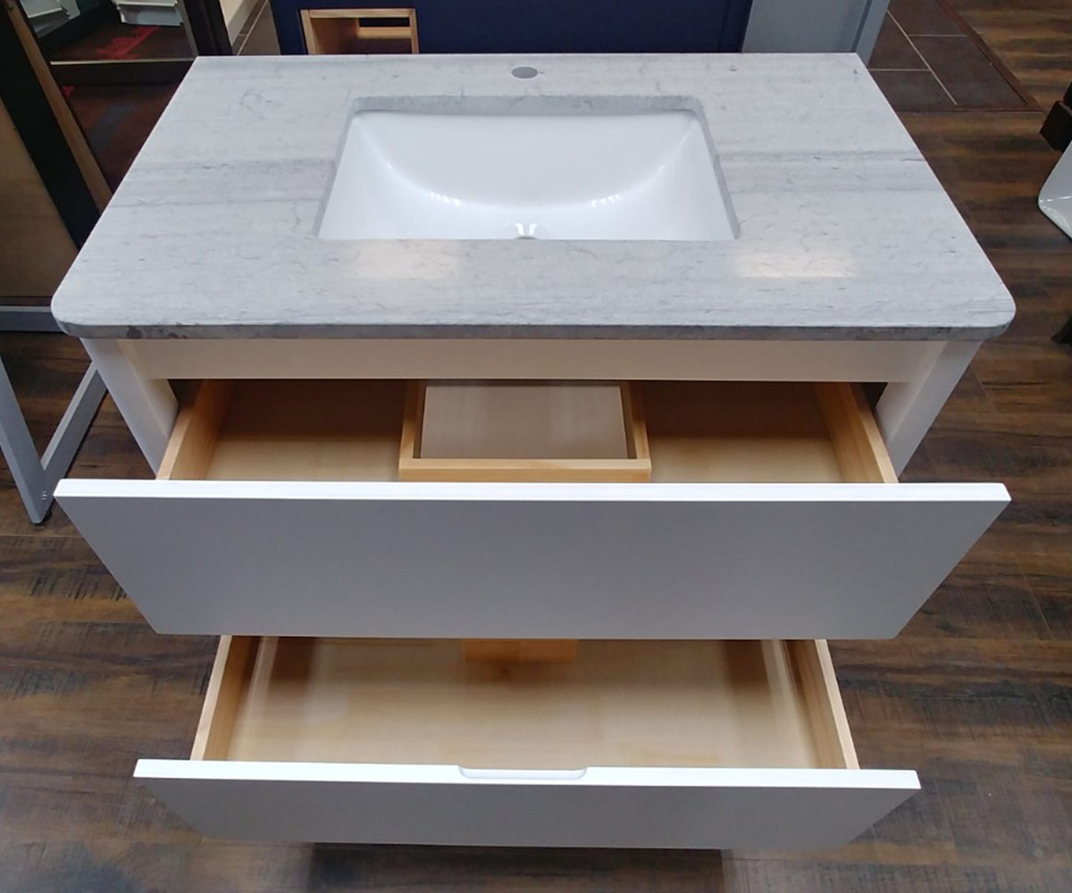 CBTI-2019 Two Drawer White Vanity with Grey Travertine Marble