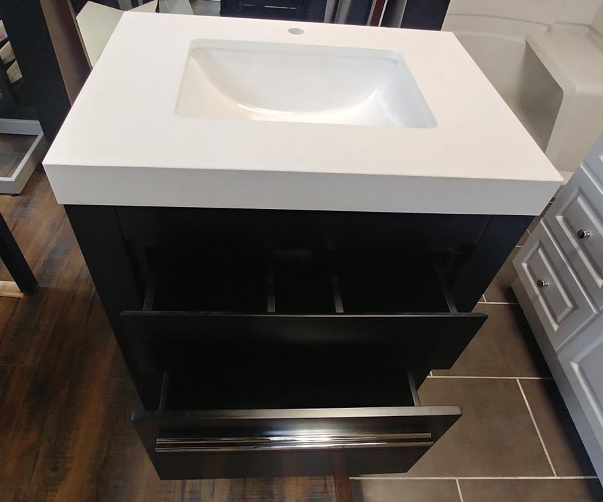 CBTI-2022 Espresso Vanity with Pure White Quartz Countertop