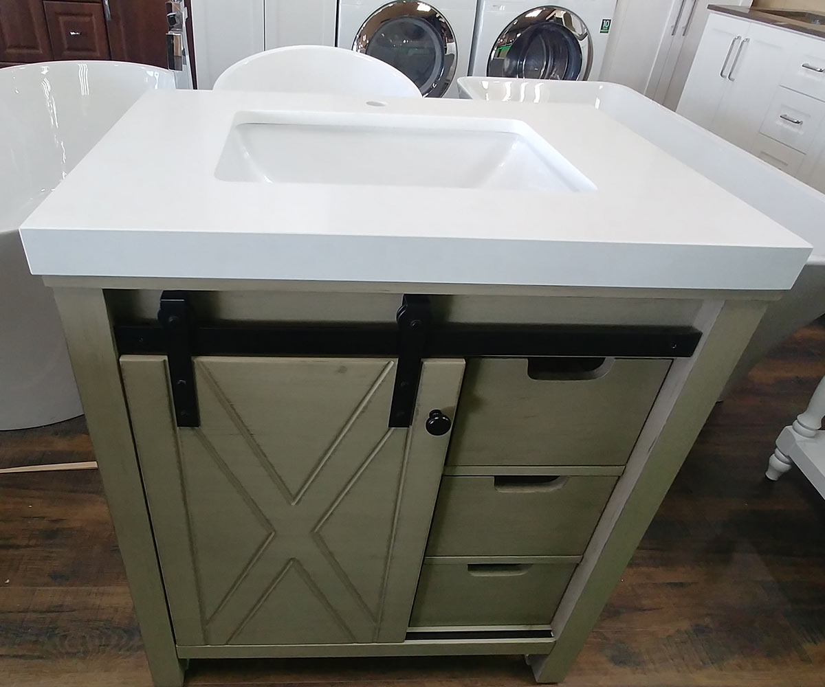 CBTI-2024 Ash Grey Vanity with Pure White Quartz Countertop