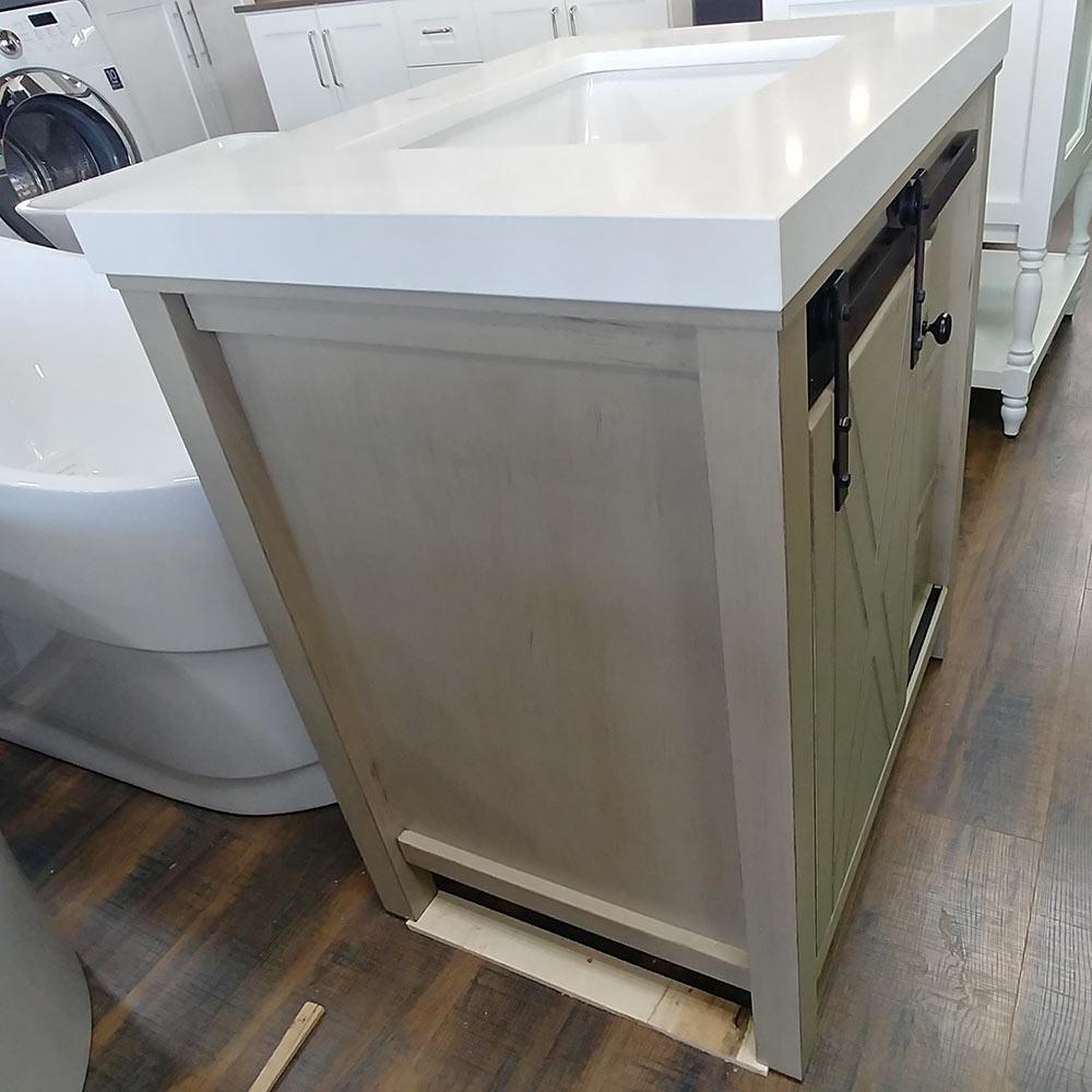 CBTI-2024 Ash Grey Vanity with Pure White Quartz Countertop