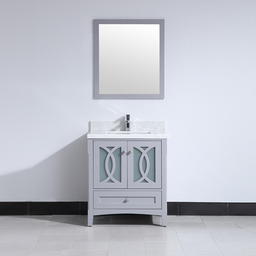CBTI-2026 Grey Vanity with Carrara White Marble Countertop