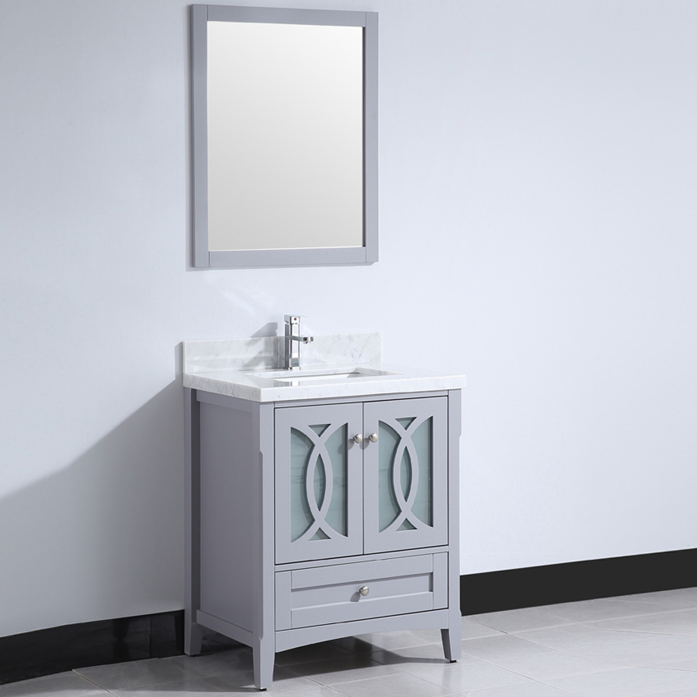 CBTI-2026 Grey Vanity with Carrara White Marble Countertop